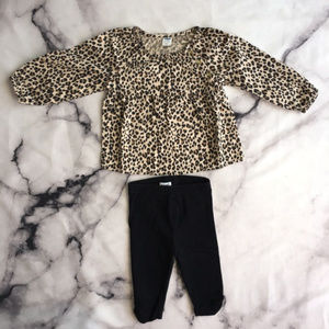 OLD NAVY Baby Girl Leopard Top & Capri Leggings